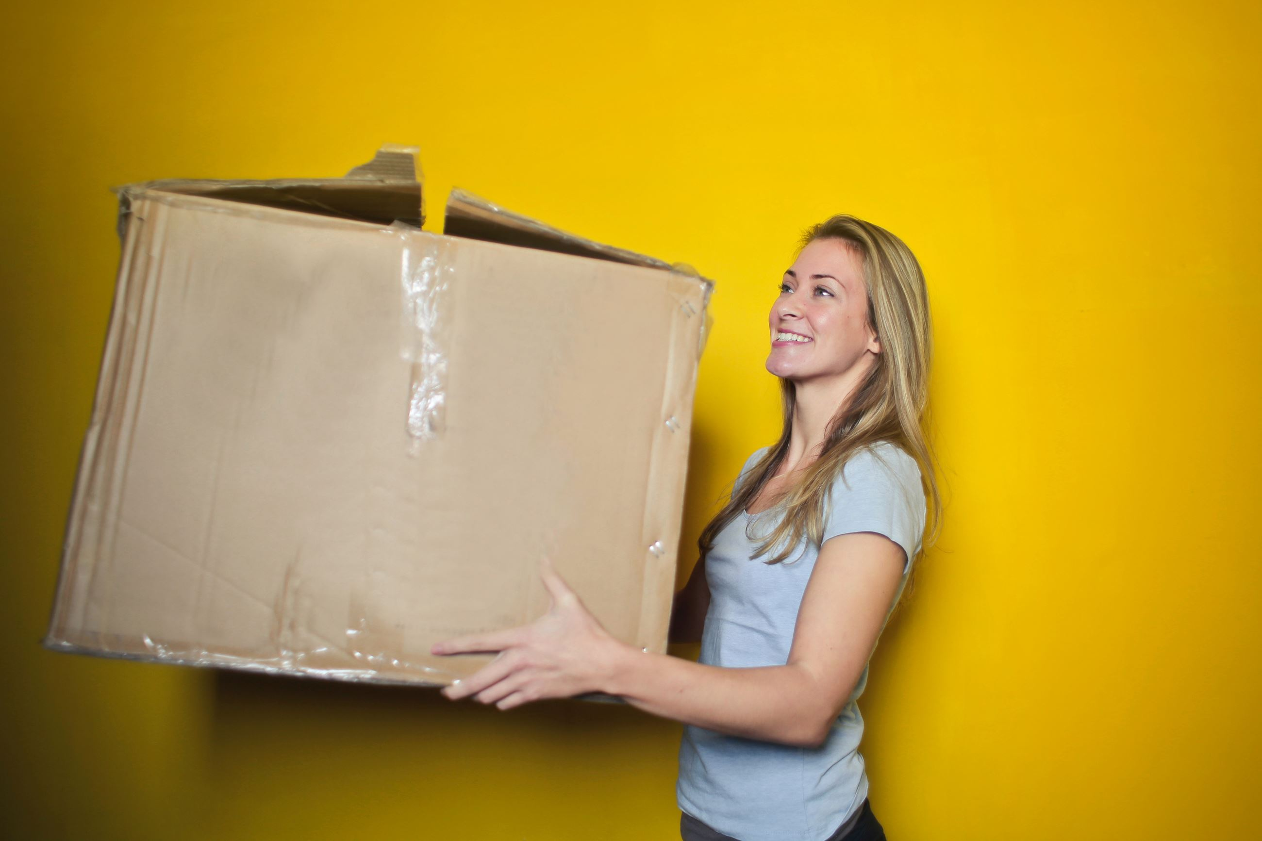 woman-in-grey-shirt-holding-brown-cardboard-box-761999